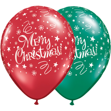 11'' Merry Christmas! Stars and swirls latex X 25